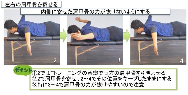 Wトレーニングのポイントについてです。2で引きよせた肩甲骨を4の位置に戻ってくるまでしっかりキープしましょう。特に、3から4にかけて腕を戻す瞬間に肩甲骨周りの力がフッと抜けることが多いので注意しましょう。2〜4で肘の高さが下がらないよう意識しましょう。2で肩甲骨でしっかりと引きよせることができていなければ、Wトレーニングを行う段階ではないので、そのような選手はまずTトレーニングをしっかり行うことができるようにしてください。