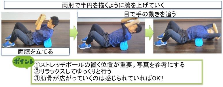 ストレッチ要素が入ったトレーニングです。後で詳しく説明しますが、肩甲骨を巧みに使いこなすためには肋骨周りの柔軟性が絶対的に必要です。今回紹介している肩甲骨トレーニングセットを行うときにこのストレッチも必ず行うようにしてトレーニング効果を最大限引き出せるようにしましょう。やり方についてです。まず、両膝をたててストレッチポールの上に乗ります。次に、ストレッチポールがない場合はバスタオルを丸めて20cm〜25cmの高さを作ってください。その後、両肘をゆっくり上げていきます。そのときに目で手の動きを追うようにしてください。手が床に着くところまでバンザイします。肋骨が広がるのを感じるところで深呼吸を3回してから元の位置まで戻ります。