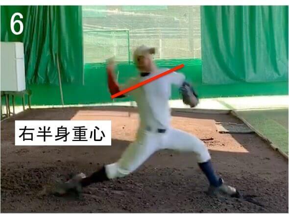 ステップ足が着地したときに両肩のラインが右肩下がりのままになっています。スピードボールを投げるにはステップ足が着地したあとは並進運動から回転運動に切り替わり、全身のパワーをリリースにつなげていく必要があります。  重心移動で右肩が多少下がるのは問題ないですが、  ステップ足が着地したときに右肩が大きく下がっていると  重心が右半身に残りやすく、回転運動への切り替えが難しくなってしまいます。