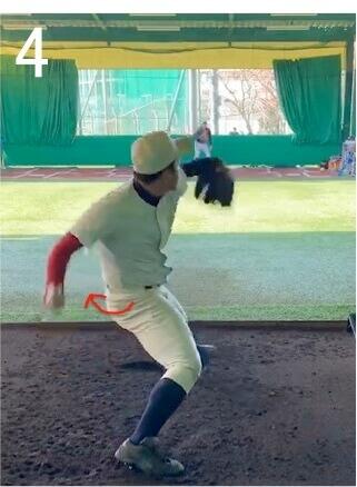 右足の股関節がしっかりはまった状態で重心移動することで  回転運動になったときに股関節周りの筋肉が爆発的な力を出しやすくなり、 右肩が大きく下がることもないので、左足に体重を乗せやすくなります。