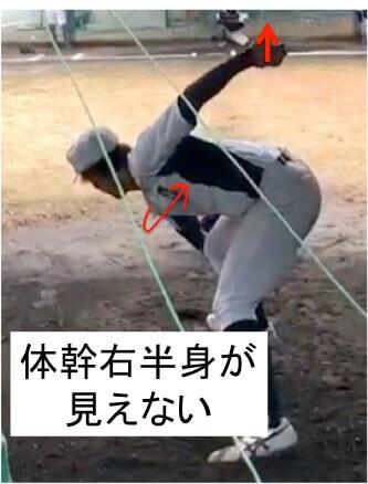 この選手は体幹のひねりが少ないので  グラブ側の体幹がほとんど見えません。  もう少し右肩を下げて体幹を使ったテイクバックをとることでボールの位置が高くなり、球速が出やすくなるでしょう!