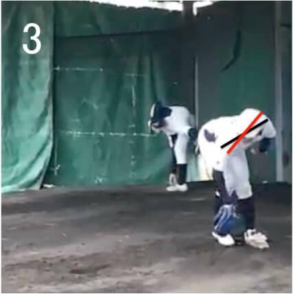 この選手の場合、重心移動初期でのグラブ側の肩を下げる動きが小さく、  テイクバックでボールを高い位置に置く下準備ができていません。写真3くらいのフェーズからしっかりグラブ側の肩を下げて両肩ラインを崩さずにステップをすることができれば球速アップにつながるでしょう。