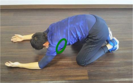 このストレッチでは広背筋の脇あたりをねらったストレッチになります。