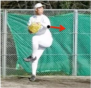 上の写真の赤い矢印の方向(キャッチャー方向)に向けて肘から先を伸ばしてしまうと左手を地面に近い位置に落下していることにはならず、反動をうまく利用できなくなっていまいます。