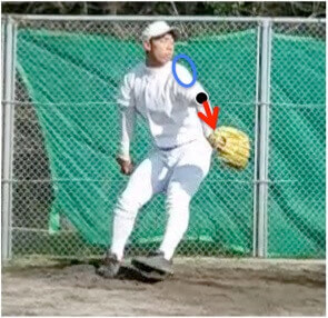 肘から先を体の斜め前(3塁側)に伸ばすとしっかり左手を落下することができ、反動を使った右腕のテイクバックをしやすくなります。