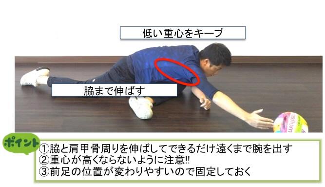 股関節だけでなく、脇腹や肩甲骨周りも使えるようになりましょう。