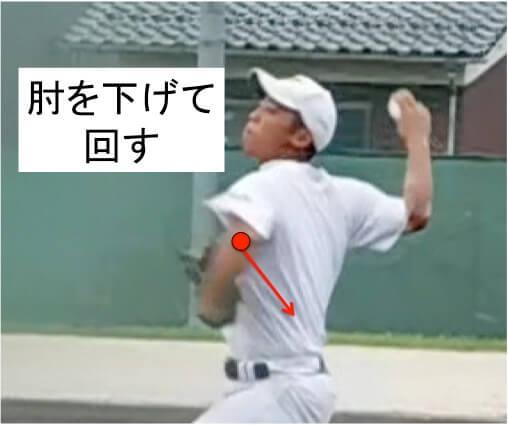回転運動がはじまると同時に  肘を下げて回すことで反対の後傾+外旋方向に動かします。そうすることで体幹の回転運動を誘導することができ、肩甲骨の動きがダイナミックなほど体幹も鋭く加速してリリースでボールに力が伝わりやすくなります。
