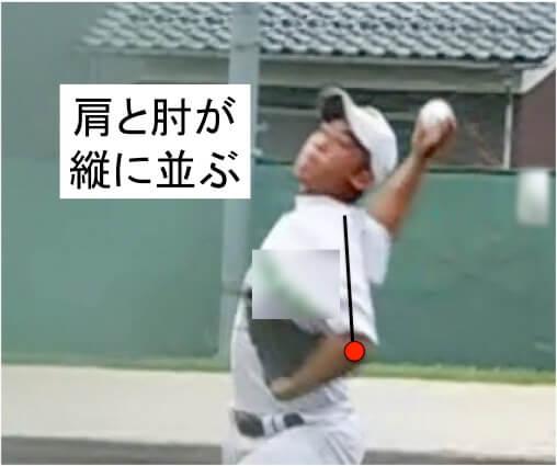肩と肘が縦に並ぶようにしっかり肘を落としていきます。