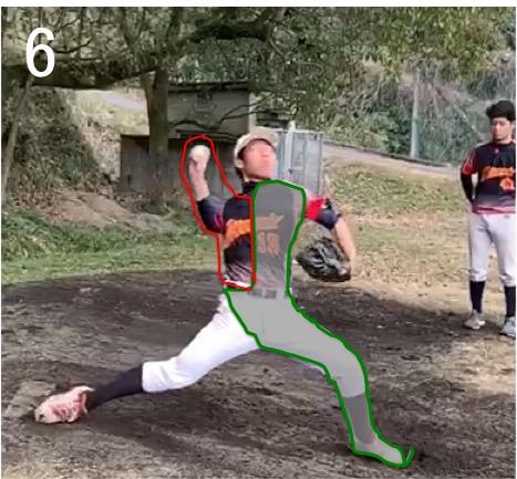 本来はステップ足が着地して回転運動に移行するときに左半身・骨盤は壁になります。(緑で囲っている部分)