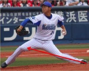 ピッチャーの場合、遠投の様に走って助走をつけて投げることはできないので、体重移動のときにどれだけ効率よく地面からの反力をもらってバッター方向に加速(赤矢印)できるかが球速アップのカギになります。
