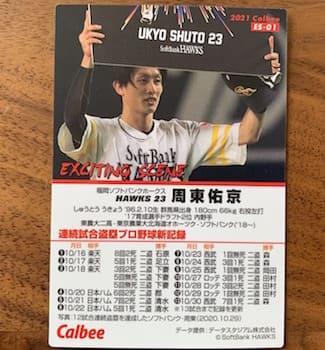 ソフトバンク周東選手のエキサイティングカードです。13試合連続で盗塁を成功(プロ野球新記録)させたときの内容が紹介されています。