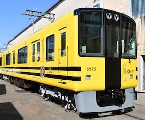イエロー&ブラックのデザインで阪神タイガースの球団をイメージした電車です。