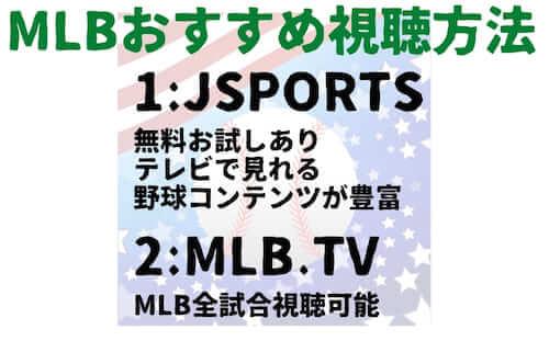 MLBの視聴方法で特にオススメなのが JSPORTSとMLB.TVになります。JSPORTSの特徴は2週間の無料お試しができる、テレビで見れる、MLB以外にも社会人野球・大学野球・NPB12球団トーナメントなど野球コンテンツが豊富な点が挙げられます。MLB.TVの特徴はMLB全試合を視聴できるという点です。日本人選手だけでなく、MLBを全部楽しみたいという方におすすめです。